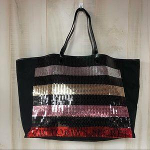 NWT Victoria's Secret Bling Stripe Sequin Carryall